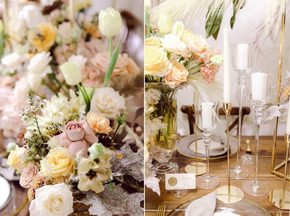 Decor rustic aranjamente florale nunta Grand Hotel Italia
